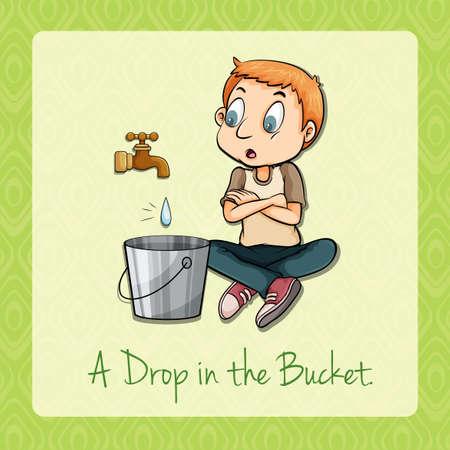 watching: Man watching water dropping in bucket illustration Illustration