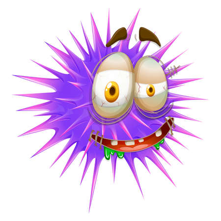 thorny: Monster face on thorny ball illustration