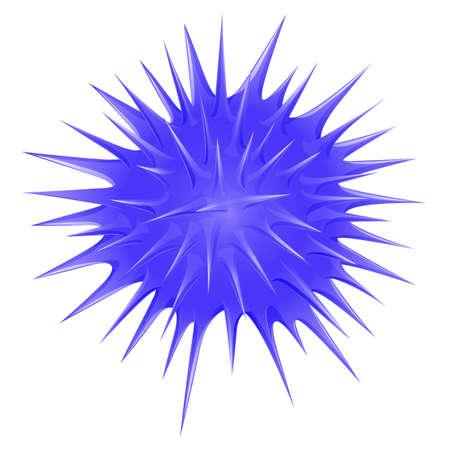 sea urchin: Blue thorny ball illustration Illustration