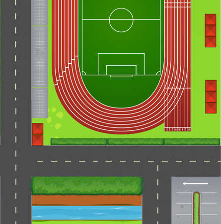 track and field: Top view of football field illustration