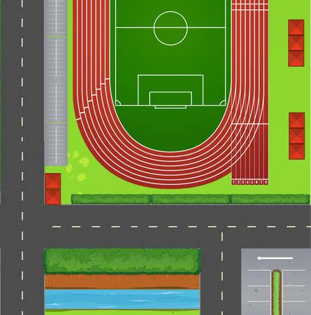 terrain foot: Vue du haut de terrain de football illustration Illustration