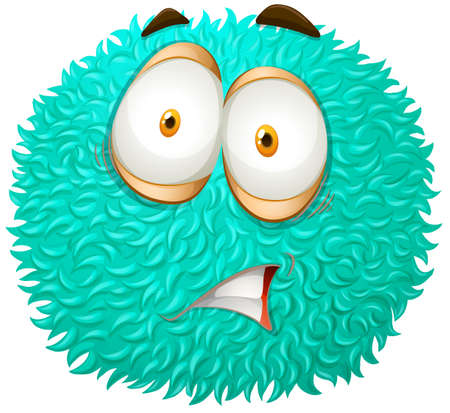 hairy: Blue fluffy ball with scared face illustration Illustration