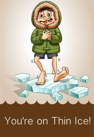 shivering: Man standing on ice shivering illustration Illustration