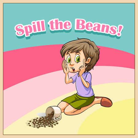 whispering: Woman whispering beside scattered beans    illustration Illustration