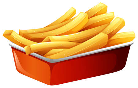 french fries: French fries in red tray illustration