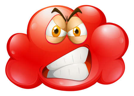 Red angry emotion cloud illustration