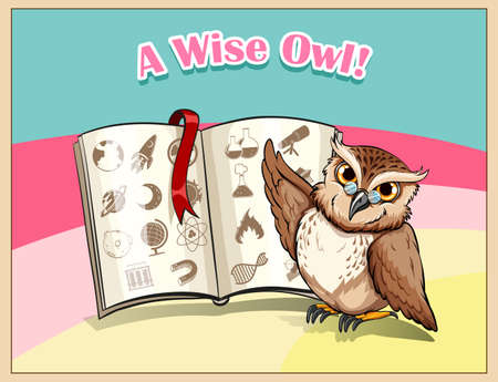 funny pictures: Owl wearing eyeglasses studying illustration
