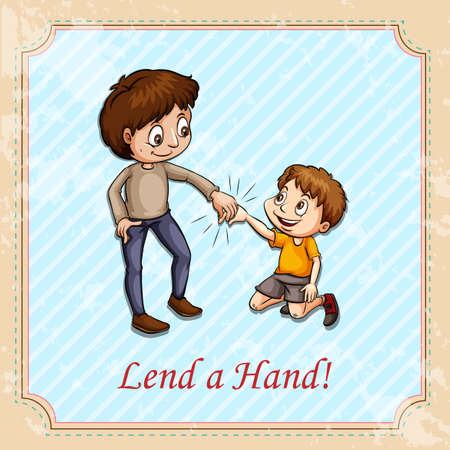 lend a hand: Man holding childs hand illustration