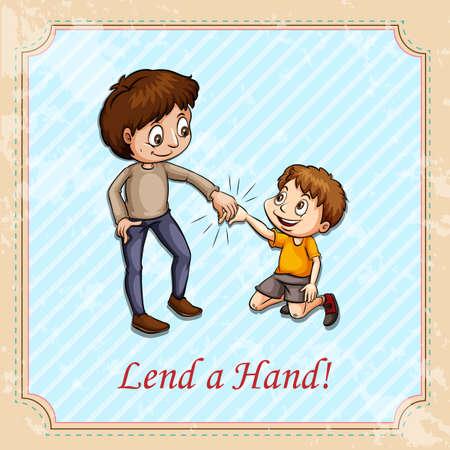 helping: Man holding childs hand illustration