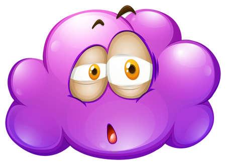 cara triste: Púrpura nube con cara triste ilustración Vectores