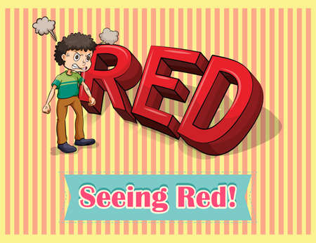 idiom: English idiom seeing red illustration