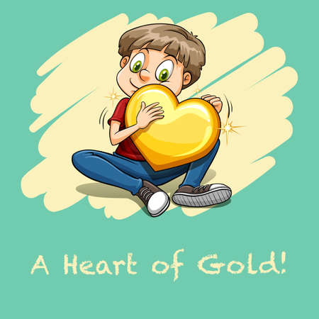 idiom: Idiom heart of gold illustration