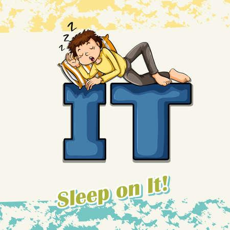 idiom: Idiom sleep on it illustration