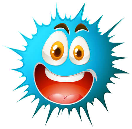 funny pictures: Blue splash with happy facial expression illustration Illustration