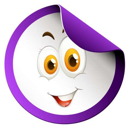 smile close up: Happy face round sticker illustration