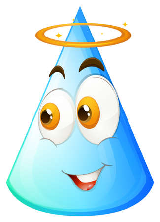 geometric shapes: Blue cone with happy face illustration