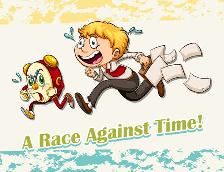 late: Idiom race against time illustration