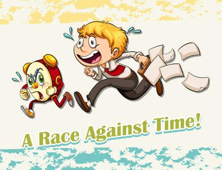 figurative: Idiom race against time illustration
