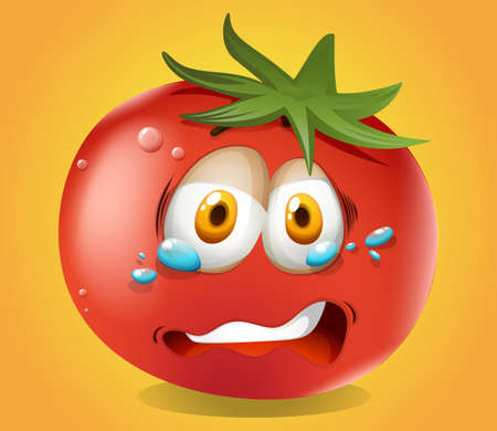 tomatoes: Sad face on tomato illustration Illustration