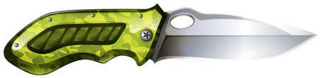 pocket knife: Pocket knife with green grib illustration