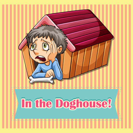 figurative: Idiom in the doghouse illustration Illustration