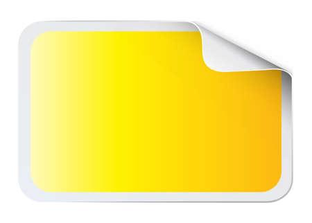 white blank: Square yellow sticker on white illustration