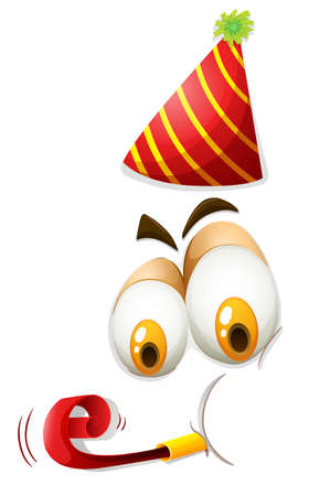 party hat: Human face with party hat illustration Illustration