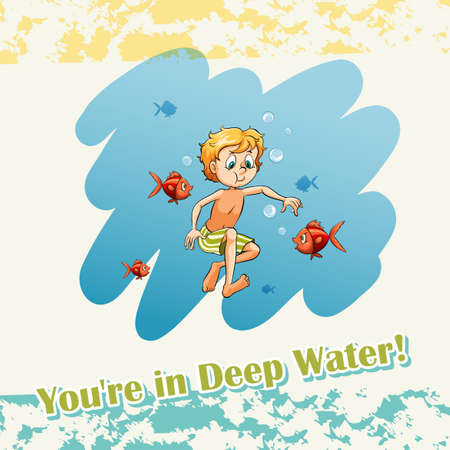 deep water: You are in deep water illustration