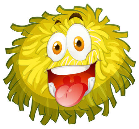 pom pom: Fluffy ball with happy face illustration Illustration