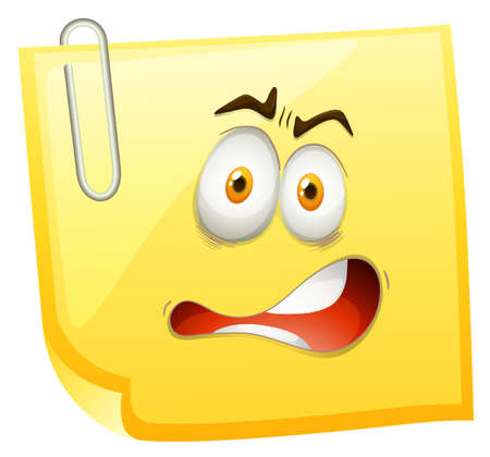 shocking: Shocking face on yellow paper illustration Illustration