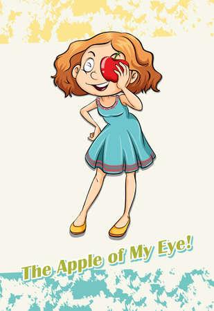idiom: Idiom apple of my eye illustration