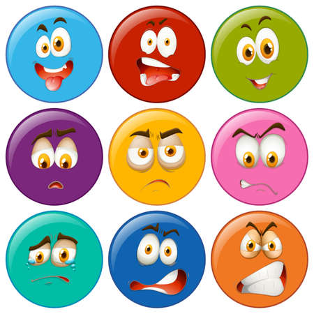 facial expression: Facial expression on round badges illustration