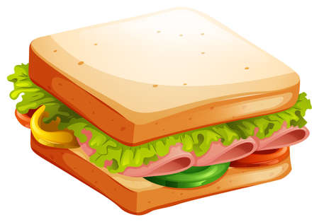 vegetables on white: Ham and vegetable sandwich illustration