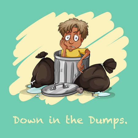 figurative: Down in the dumps illustration