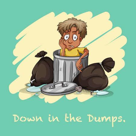 dumps: Down in the dumps illustration