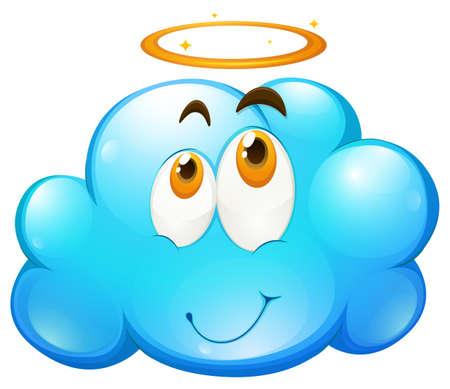 vapore acqueo: Faccia felice su nuvola blu illustrazione Vettoriali