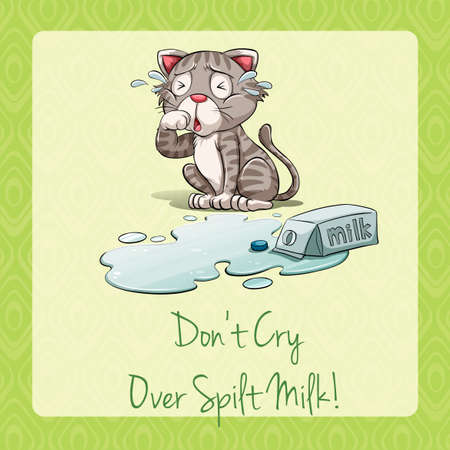 spilt: Cat crying beside spilt milk illustration