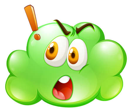 green face: Green cloud with shocked face illustration Illustration