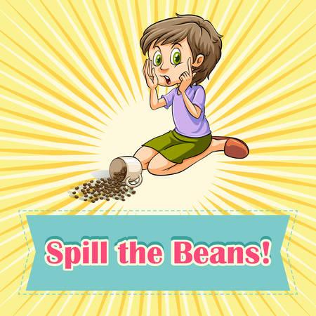 spilt: Woman sitting beside spilt beans illustration