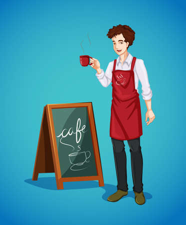 holing: Waiter holing cup of coffee illustration Illustration