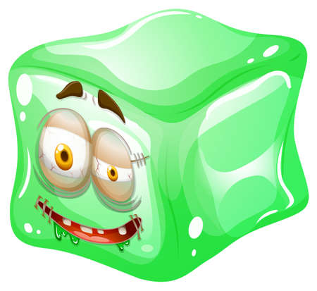 green face: Monster face on green ice illustration