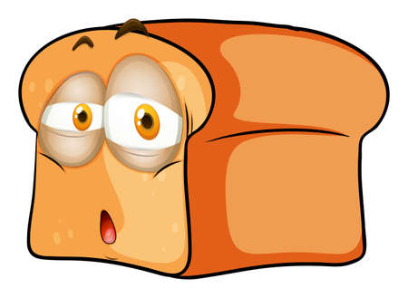 disappoint: Loaf of bread with sad face illustration