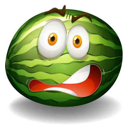 Watermelon with shocking face illustration