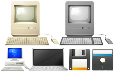 typing: Personal computer with monitors and keyboards illustration