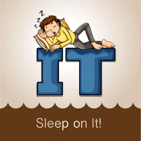 snoring: Idiom sleep on it illustration