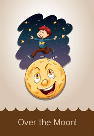 figurative art: Idiom over the moon illustration Illustration
