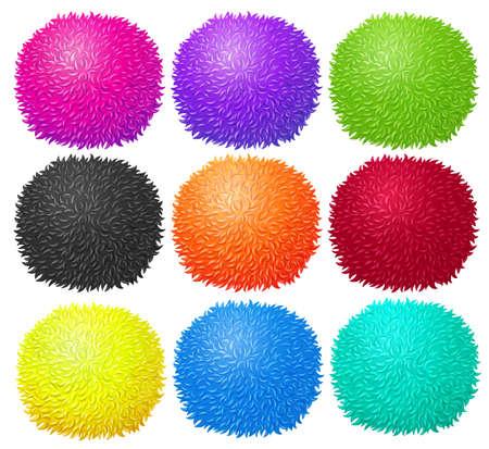 pom pom: Fluffy ball in many colors illustration