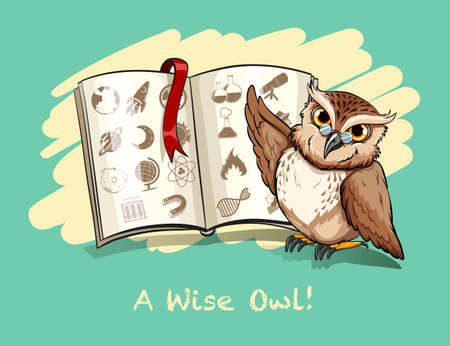 wise owl: Idiom a wise owl illustration Illustration