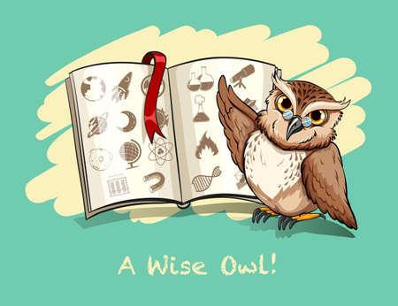 idiom: Idiom a wise owl illustration Illustration