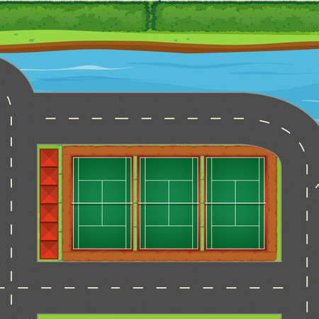 hard court: Top view of tennis courts illustration Illustration